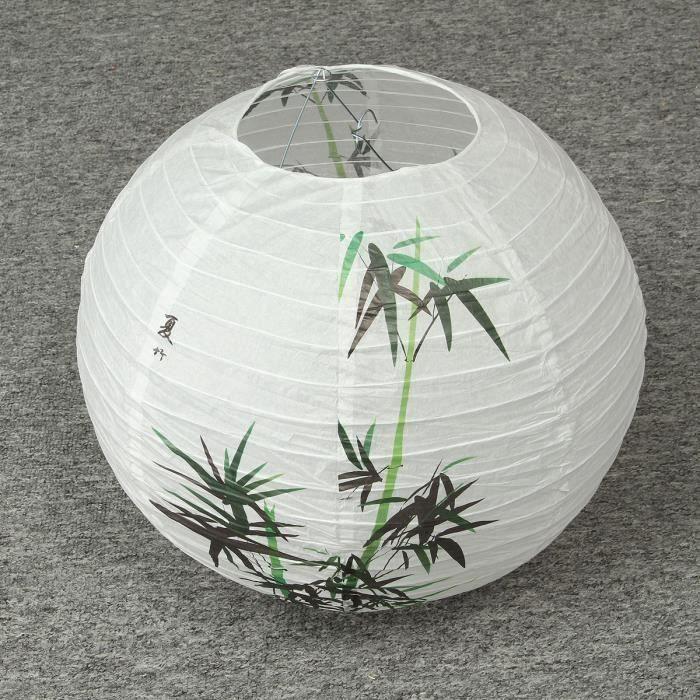 Abat-Jour Vendu Seul 35cm Lanterne En Papier Chinois Bambou Oriental Déco Fête Maison Sh09756