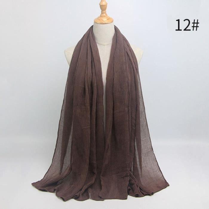 Foulard hijab en coton froissé, écharpe douce, écharpe chaude, écharpe chaude, châle, 25 couleurs, Design hiver, tendanc DY5175