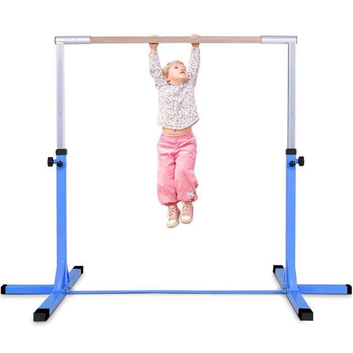 GIANTEX Barre de Gymnastique Enfant,Hauteur Réglable 12 Niveaux 91-150cm,Barre Fixe d'Entraînement en Acier Bleu Bois Massif Hêtre