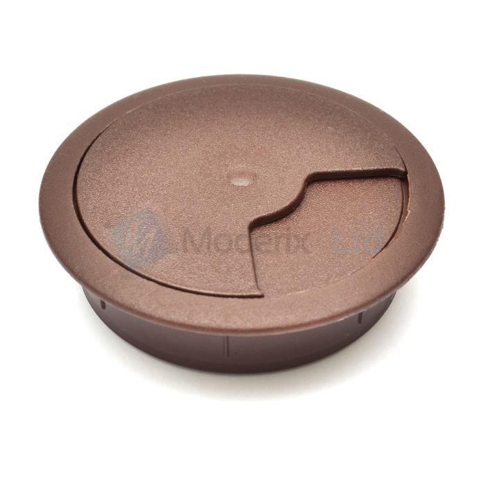 Passe cable passe fil plastique en brun foncé design diamètre 60mm