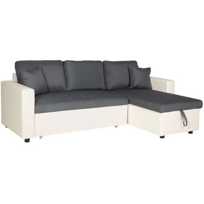 Canapé d'angle convertible CLARK 3 places gris chiné et blanc Blanc