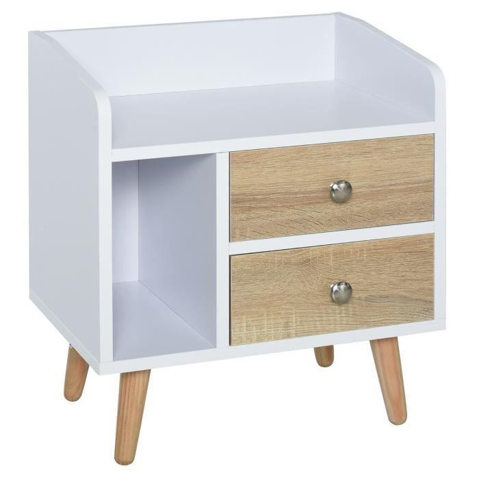 Chevet table de nuit design scandinave 2 tiroirs niche plateau pieds effilés inclinés bois massif chêne clair blanc 43x30x49cm Beige