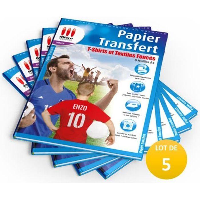 LOT DE 5 PACKS : 5X Papier Transfert T-Shirt pour Textiles de Couleur - 6 feuilles A4 / 5x MA-5099 soit 30 feuilles A4