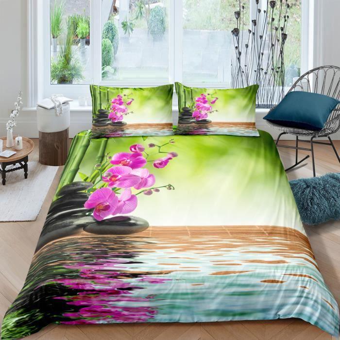 Parure de lit ZEN bambous galets fleurs et leurs reflets 220*240cm 3 pieces 1 housse de couette et 2 taies d'oreiller 63*63cm