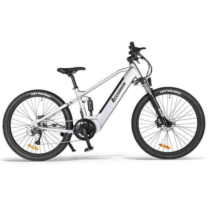 ACCOLMILE Vélo à assistance électrique 750W 27.5inch ARGENT avec BAFANG Moteur pédalier et LG Batterie 48V Cellules 18650