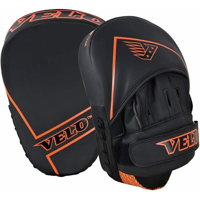 VELO Boxing Focus Pads Training Hook Gloves Punch Mitts Curved Kick Fight Jabs Matt Orange