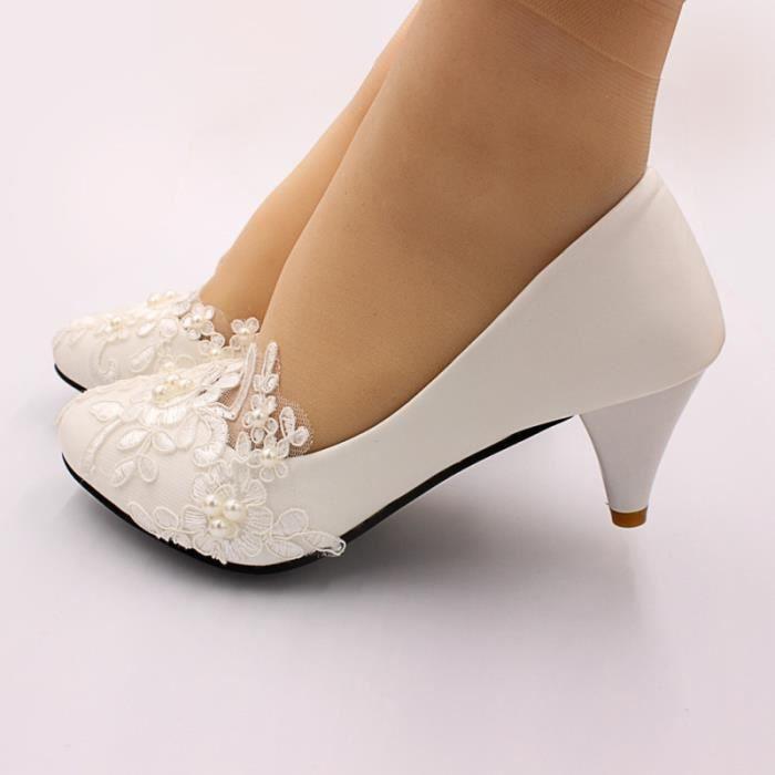 1 paire de chaussures de mariage manuel en dentelle perle fleur de accessoires de robe de mariée blanche CHAUSSURES DE RANDONNEE
