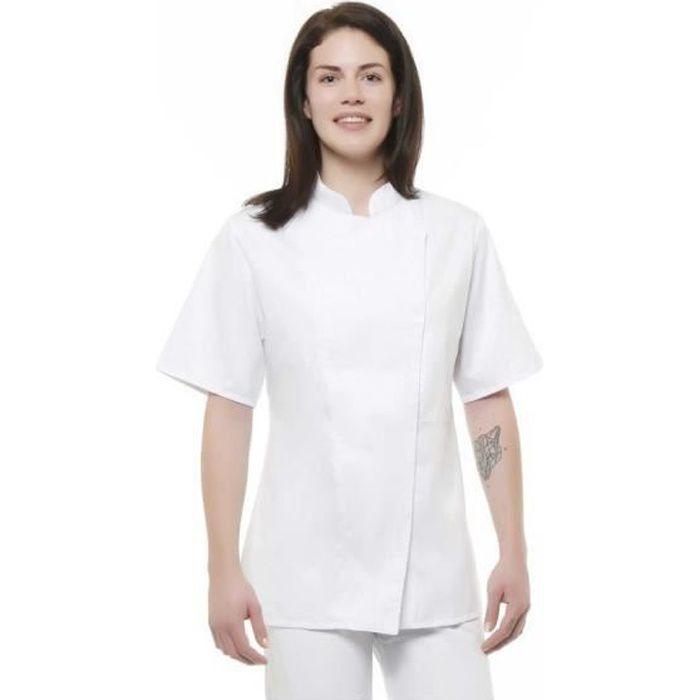 Veste de cuisine femme CLAFOUTIS MC Blanche