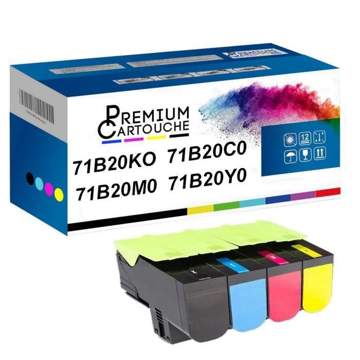 Toner 71B20K0 Noir + Cyan + Magenta + Jaune Compatible pour 2300 Lexmark CS317dn CS417dn CS517de -Lexmark CX317dn CX417de CX517de 23