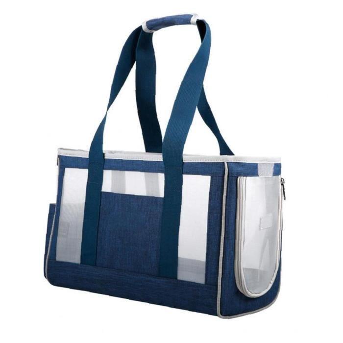 Sac de porte-animal sac respirant chat portable sac à main Pochette pour animaux de compagnie pour chien chiot bleu s