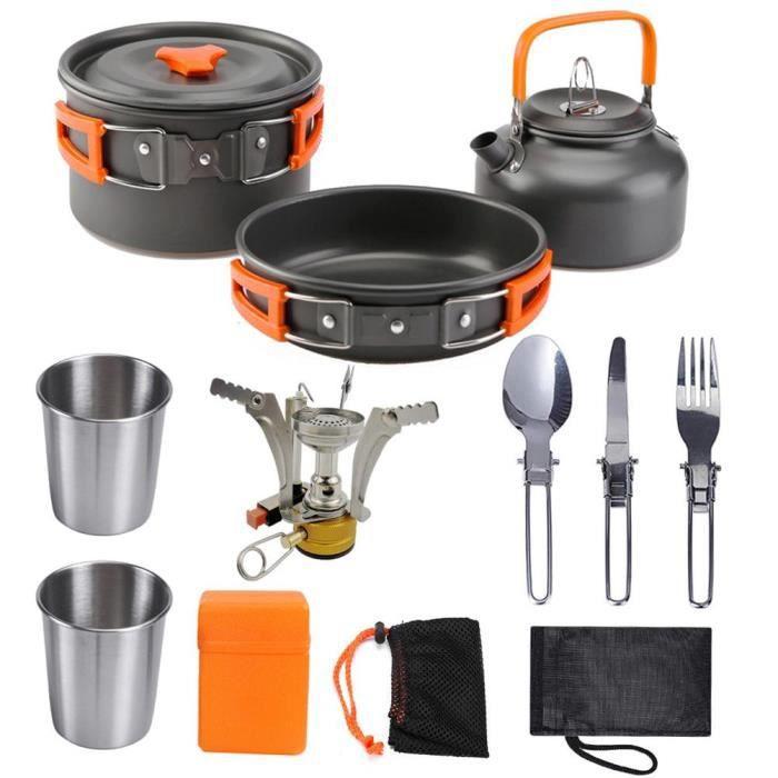 Pack Cuisine et repas de camping POPOTE - VAISSELLE - COUVERTS camping 2-3 personnes 16cm -Orange