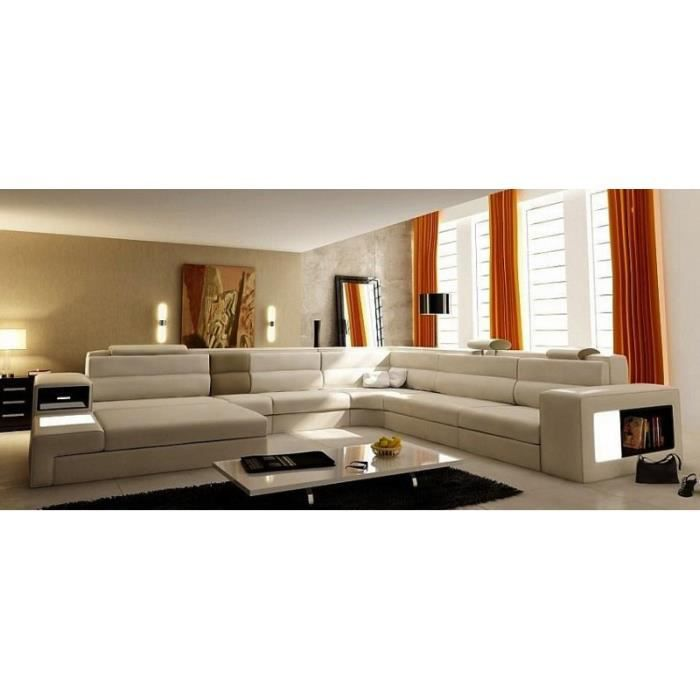 Canap panoramique en cuir beige angle gauche achat for Canape beige