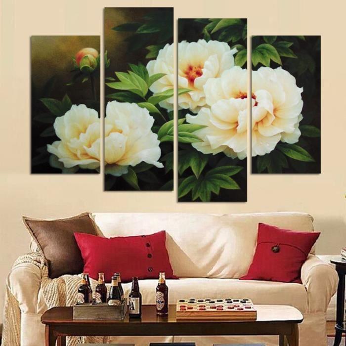 4 Pièces Blanc Fleur Moderne Peinture Murale Pivoine Toile Mur Art Fleur Rouge Photos Pour Salon Chaude Ventes