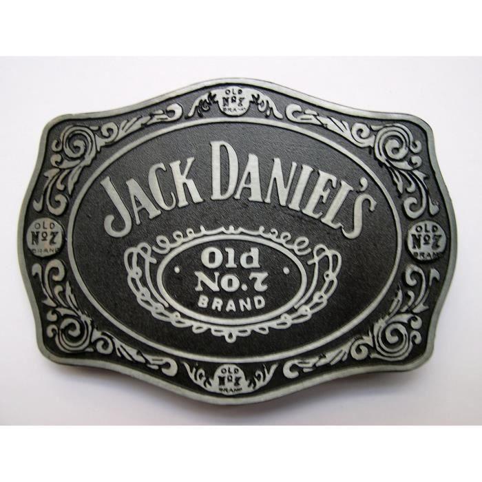 Jack Daniels cuir ceinture noire avec de Vieux No.7 Logo de la marque boucle en métal-Large