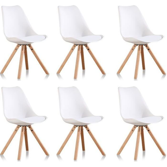 lot de 6 chaises blanches scandinaves helsinki achat. Black Bedroom Furniture Sets. Home Design Ideas