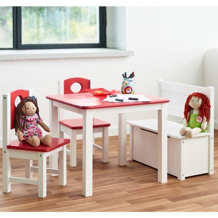 Ensemble Meubles Pour Enfants 1x Table 2x Chaises 1x Banc En Rose Table Dactivités Pour Enfants En Pin Massif