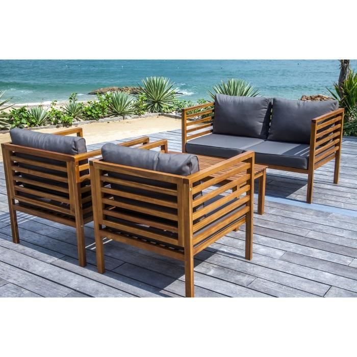 majorque salon de jardin 4 places en bois acacia marron achat vente salon de jardin salon. Black Bedroom Furniture Sets. Home Design Ideas