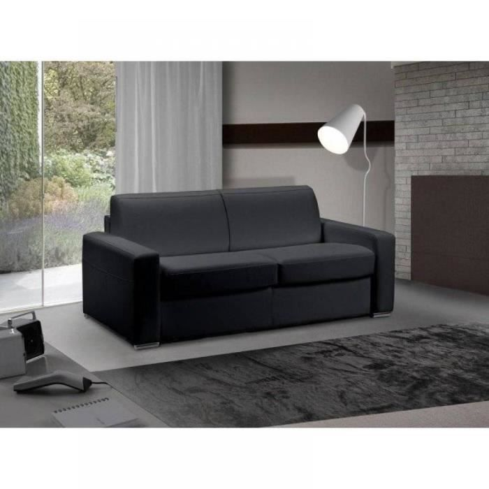 canap lit 3 places master convertible rapido 140 cm cuir eco noir matelas 18 cm inclus achat. Black Bedroom Furniture Sets. Home Design Ideas