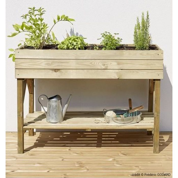 potager sur lev 8 carr s en pin naturel achat vente. Black Bedroom Furniture Sets. Home Design Ideas