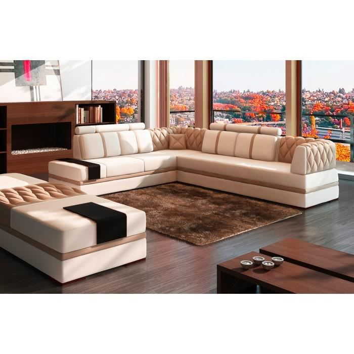 canap d 39 angle en cuir italien 6 7 places riva blanc et beige achat vente canap sofa. Black Bedroom Furniture Sets. Home Design Ideas