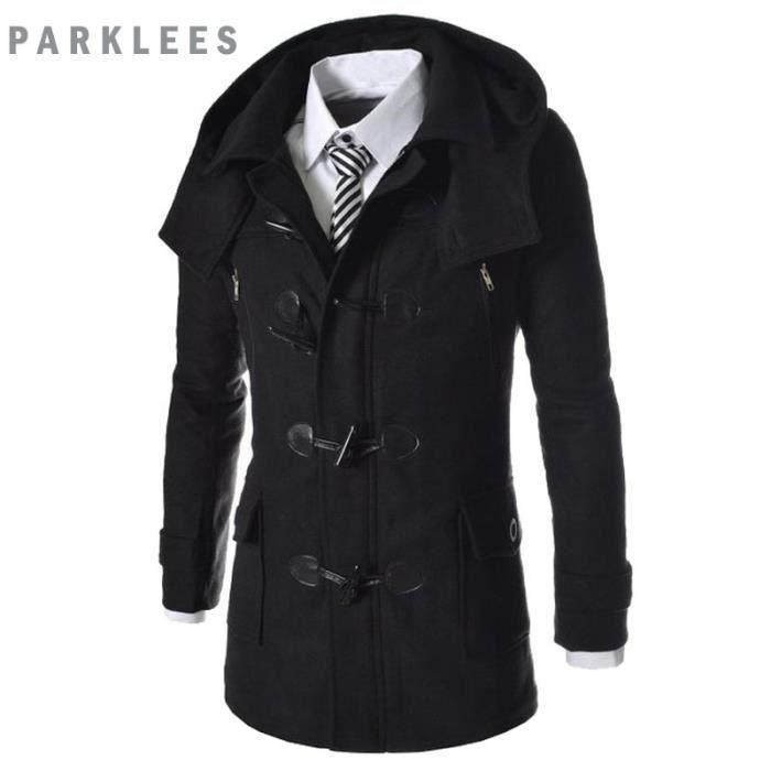 Coat Homme Manteau En Slim Fit Duffle Capuche Laine Amovible tCBhrxsQd