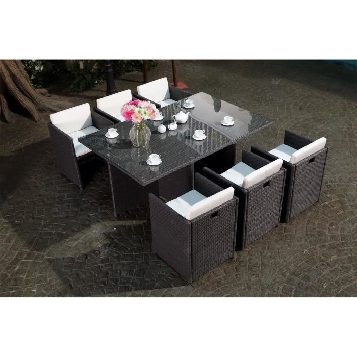 Vito salon jardin gris encastrable 6 personnes achat for Salon en resine gris