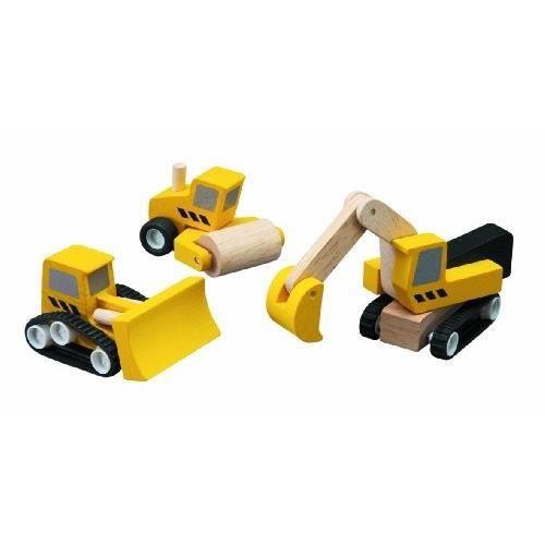 PT6014 Véhicules en bois PlanToys Véhicules de chantiers Plan City Plan Toys 0601402 lot de trois