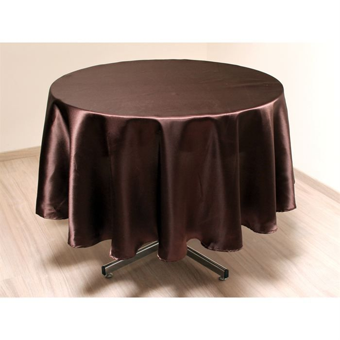 nappe ronde satin chocolat achat vente nappe de table cdiscount. Black Bedroom Furniture Sets. Home Design Ideas