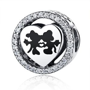 Charm's Disney, Mickey & Minnie Love Charm Argent sterling
