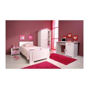 Chambre Fille Blanche et Rose avec armoire 1 porte CANDY ...