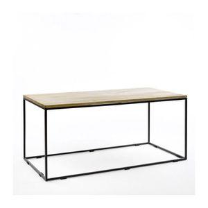 TABLE BASSE Table Base Rectangulaire Métal Noir et Bois de Man