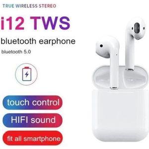CASQUE - ÉCOUTEURS i12 TWS Mini Bluetooth 5.0 Écouteurs Sport Sweatpr