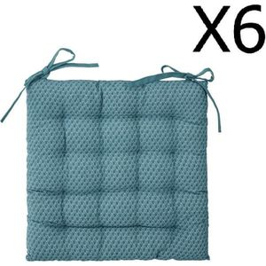 COUSSIN DE CHAISE  Lot de 6 Galettes de chaise bleu canard à motifs -
