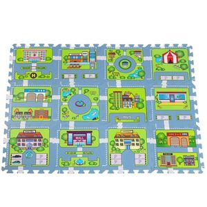 TAPIS ÉVEIL - AIRE BÉBÉ Tapis Puzzle Sol Jeu Circuit modèle Petite Ville -