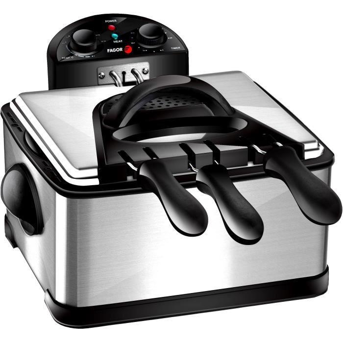 FAGOR FG124 - Friteuse Electrique - 4L - 2000W - 1,8 Kg de frites - 3 Paniers - Filtre carbone anti odeurs - Corps en inox