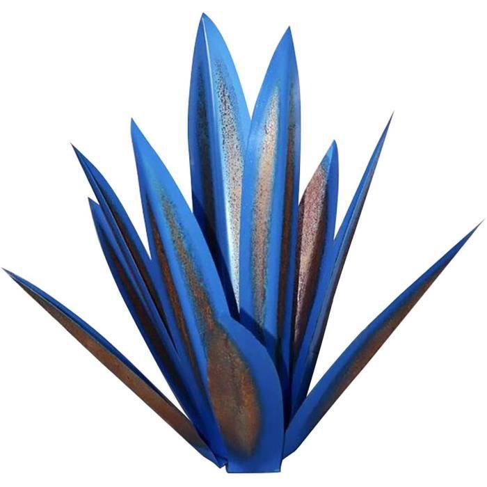 Plante Artificielle Décoratives Sculpture Rustique Jardin,35 cm Metal Art Tequila Sculpture Rustique Déco à La Maison(Bleu)