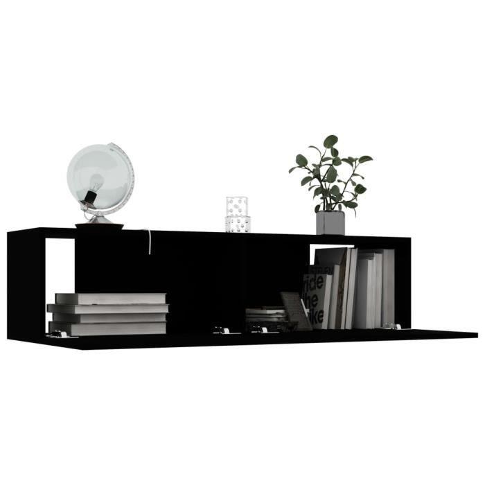 ZHI Meuble TV Noir Design Tendance 120x30x30 cm Aggloméré