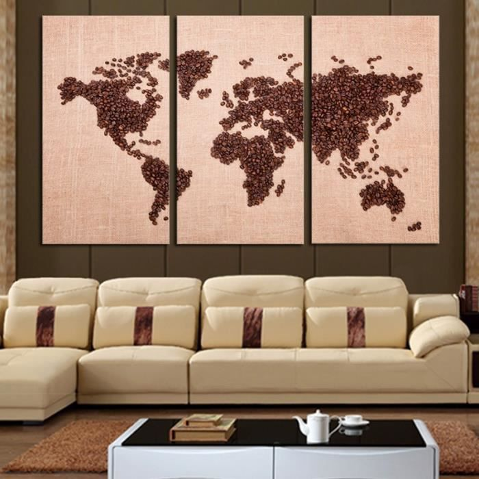 New Real Frameless Modern World Map Canvas Oil Painting On 3 Pc Wall Art Hd Paint By Number Picture For Living Room
