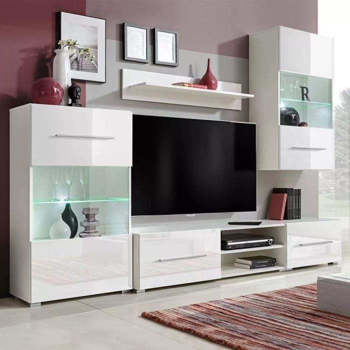 Meuble TV mural avec éclairage LED 5 pièces Blanc -MAD