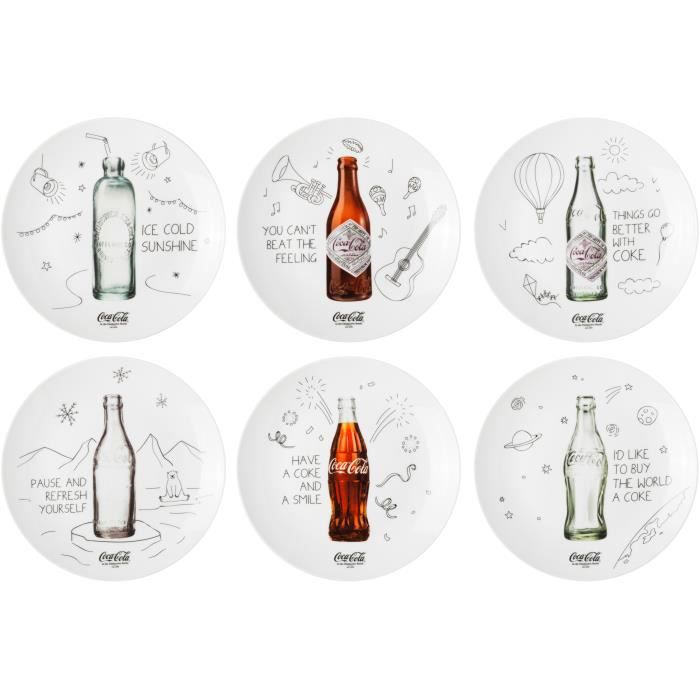 Coca-Cola Coke 38-2C-009 Assiettes plates rondes Bouteilles Coca-Cola Coffret de 6 assorties Porcelaine Blanc gris et marron D21cm