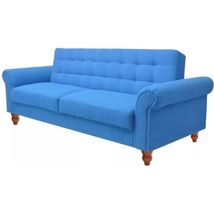 Canapé d'angle Bleu Tissu Pas cher Contemporain