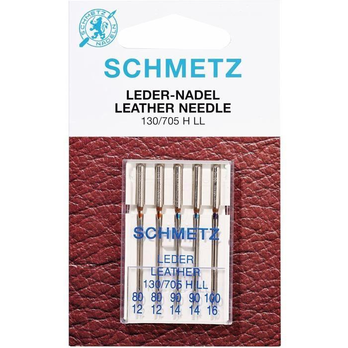Schmetz Aiguilles pour machine à coudre en cuir 130/705, n° 80-100 Assortiment d'aiguilles