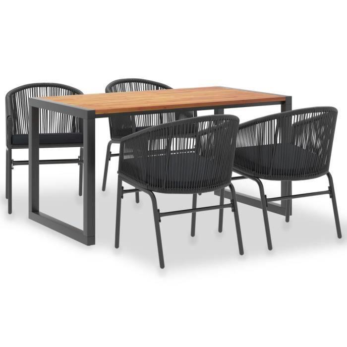 MMCZ® Ensemble Table et Chaises de 4 à 6 personnes - Set 1 Table et 4 Chaises - Design d'extérieur 5 pcs Acacia solide et rotin PVC