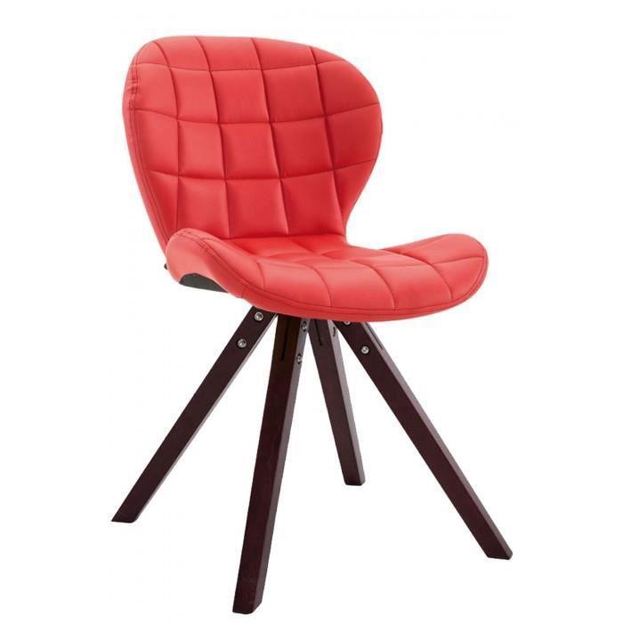 Splendide Chaise visiteur collection Saint-Georges cuir synthetique carre cappuccino (chene) couleur rouge