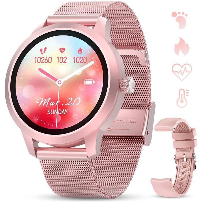 GOKOO Montre Connectée Femmes Montre Intelligente IP68 Full Tactile Smartwatch Sport Fréquence Cardiaque Calories Podomètre Chronomè
