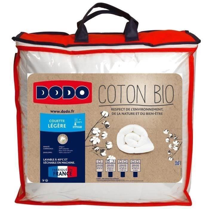 DODO Couette légère Coton Bio - 200 x 200 cm - Blanc