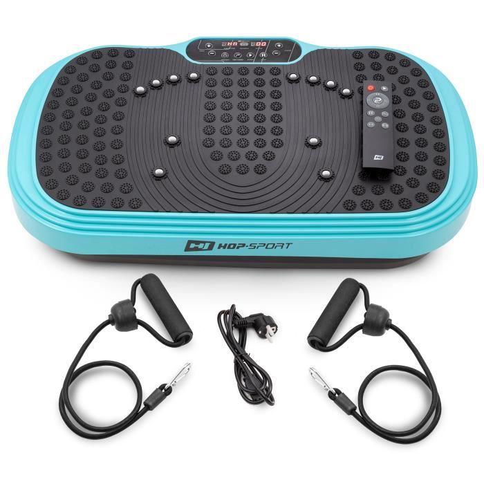 HS HOP-SPORT Plateforme vibrante HS-040VS Cube Turquois - Télécommande - Plaque antidérapante avec masseur - Extenseurs