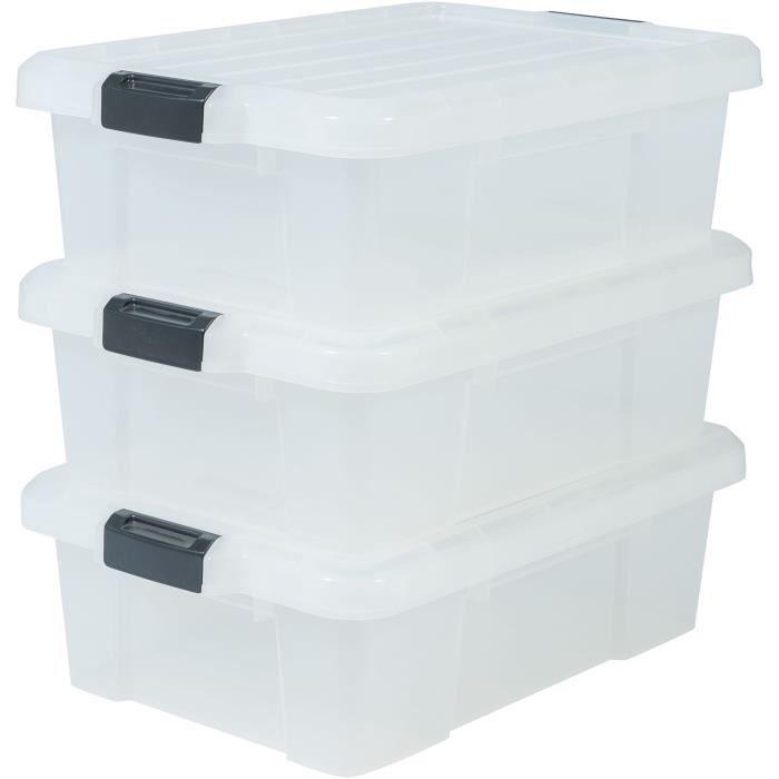 IRIS OHYAMA Lot de 3 boîtes de rangement avec fermeture clic - Power Box - SK-230 - Transparent - 25 L - 59 x 38,5 x 18 cm