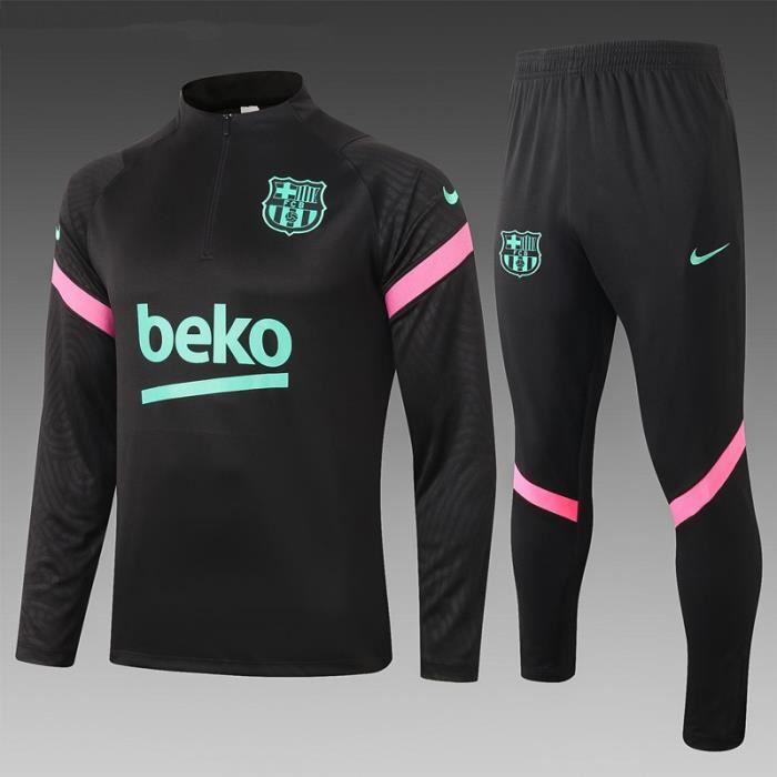 Barca Barcelona - 2020-2021 Nouveau Maillot de Football Homme Ensemble Survêtements D'entraînement de Football(Haut + Pantalon)-Noir
