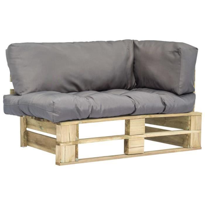 Magnifique Economique Haute qualité Luxueux Canapé de jardin palette avec coussins Gris Bois vert FSC